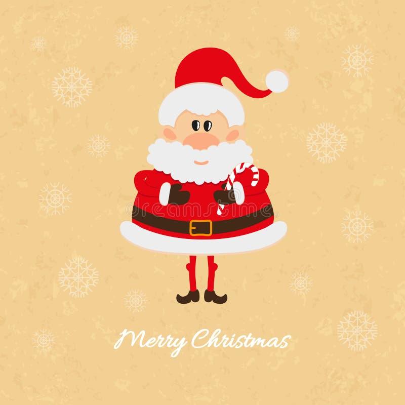 Santa Claus con la carta del bastoncino di zucchero di Natale illustrazione di stock