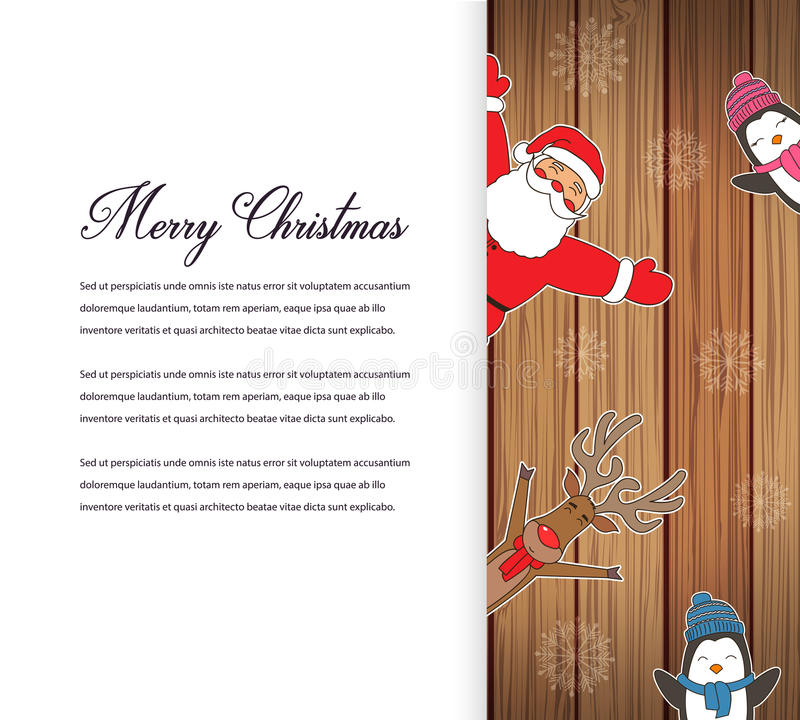 Santa Claus con la renna ed i pinguini Personaggio dei cartoni animati Cartolina di Natale Il Buon Natale intitola scritto nello  royalty illustrazione gratis