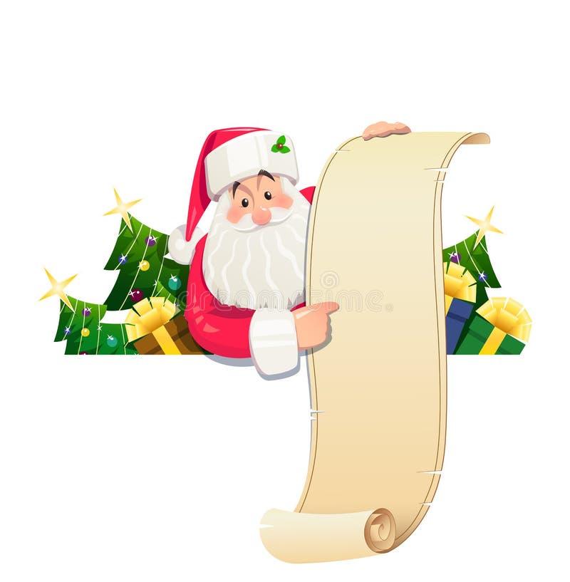 Santa Claus con la voluta y el regalo ilustración del vector