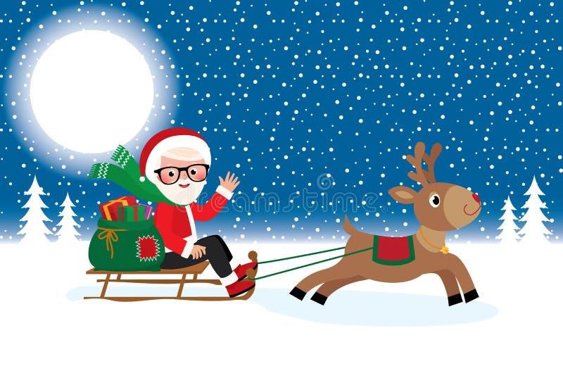 Santa Claus con los regalos de la Navidad en el trineo libre illustration