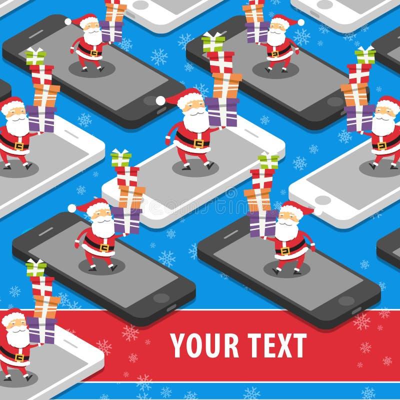 Santa Claus con los regalos de Navidad en el lugar elegante del teléfono para el texto libre illustration