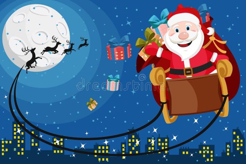 Santa Claus con los regalos que vuelan en un trineo del reno sobre la ciudad libre illustration
