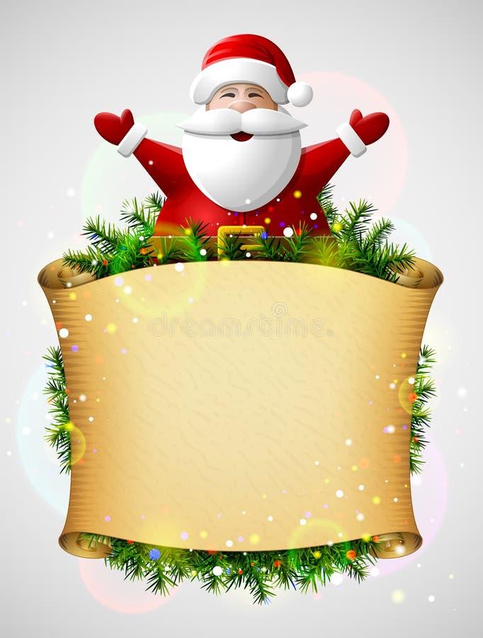 Santa Claus con sus manos para arriba sobre voluta del papel de la Navidad stock de ilustración