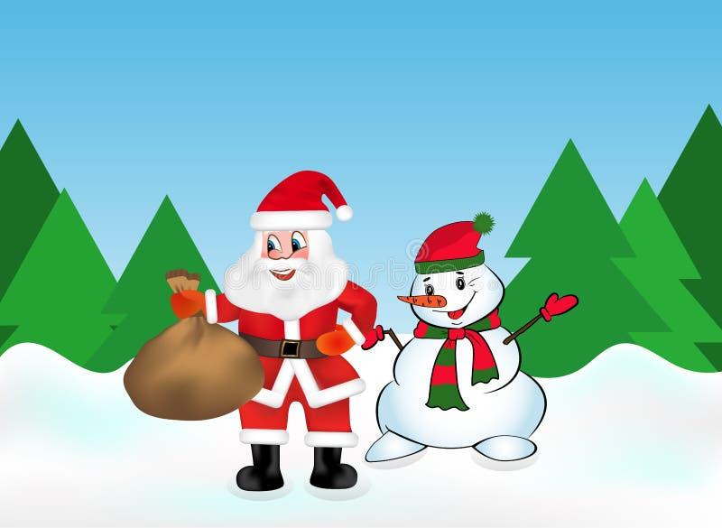 Santa Claus con tiene una borsa in pieno dei regali e del pupazzo di neve nella foresta della neve sui precedenti degli alberi di royalty illustrazione gratis