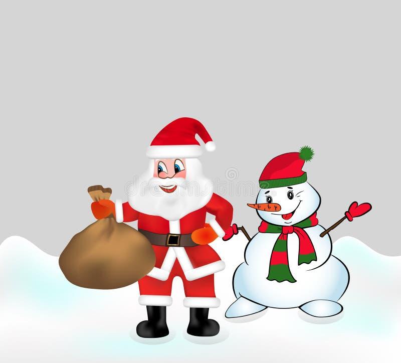 Santa Claus con tiene una borsa in pieno dei regali e del pupazzo di neve Vettore di natale illustrazione vettoriale