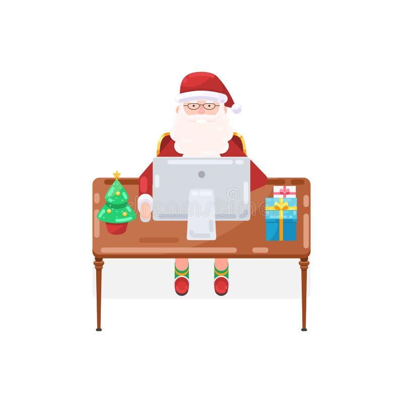 Santa Claus con un ordenador stock de ilustración