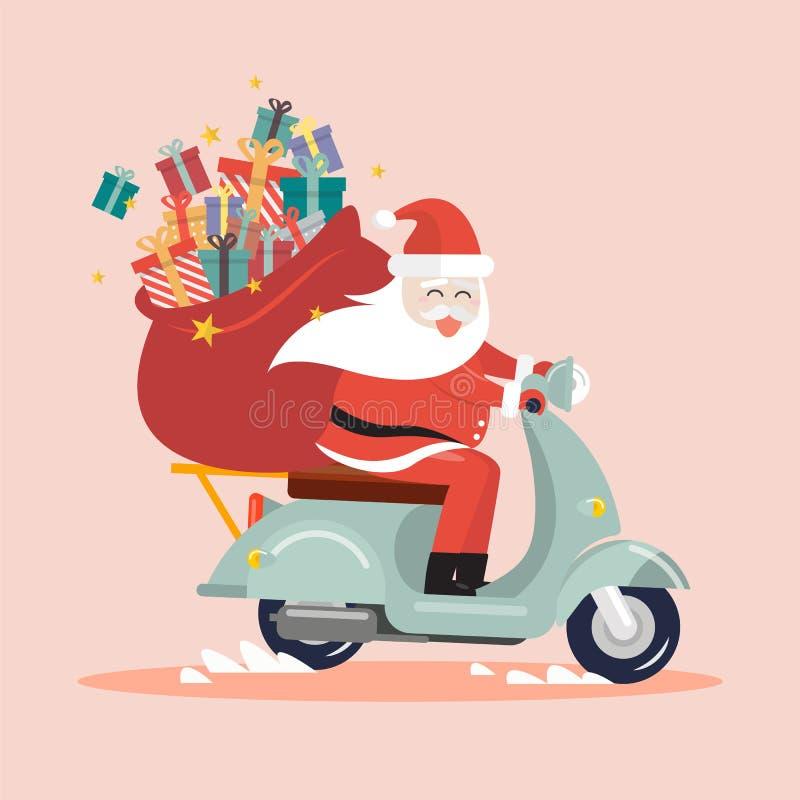 Santa Claus con un saco del regalo que monta una vespa ilustración del vector