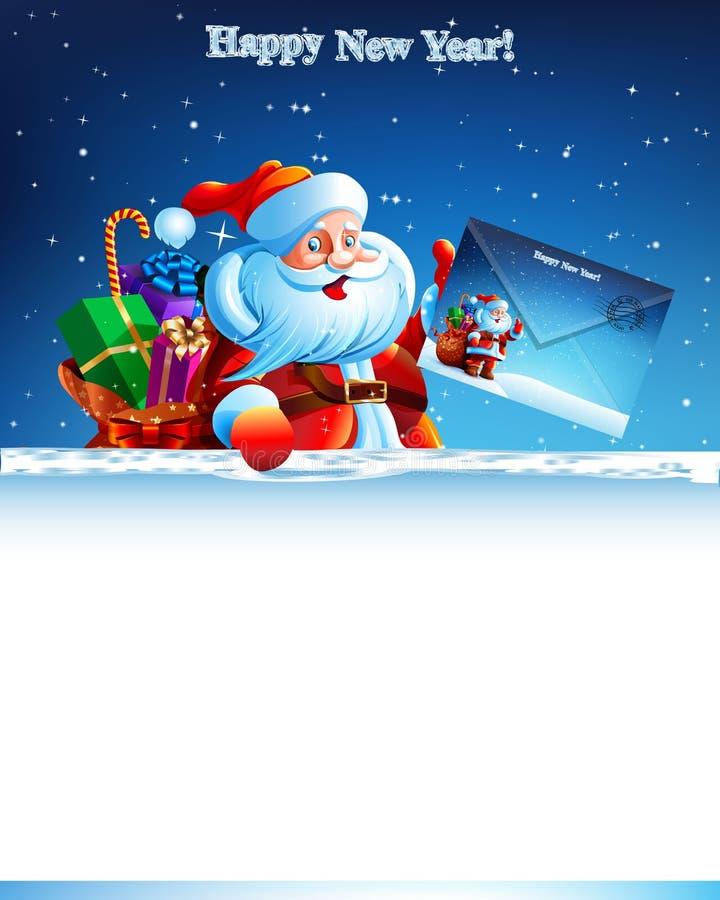 Santa Claus con una borsa dei regali che giudicano royalty illustrazione gratis