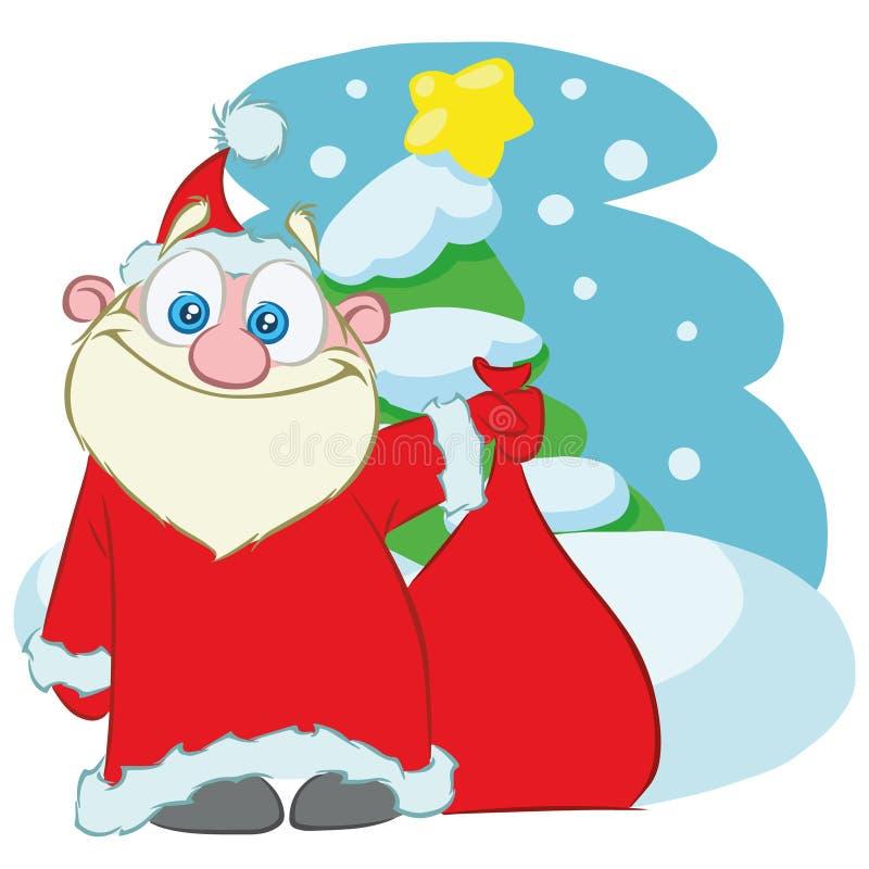 Santa Claus con una borsa dei regali fumetto illustrazione di stock