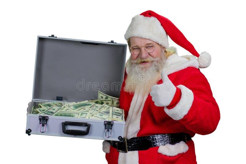 Santa Claus con una cassa di cento dollari fotografia stock libera da diritti