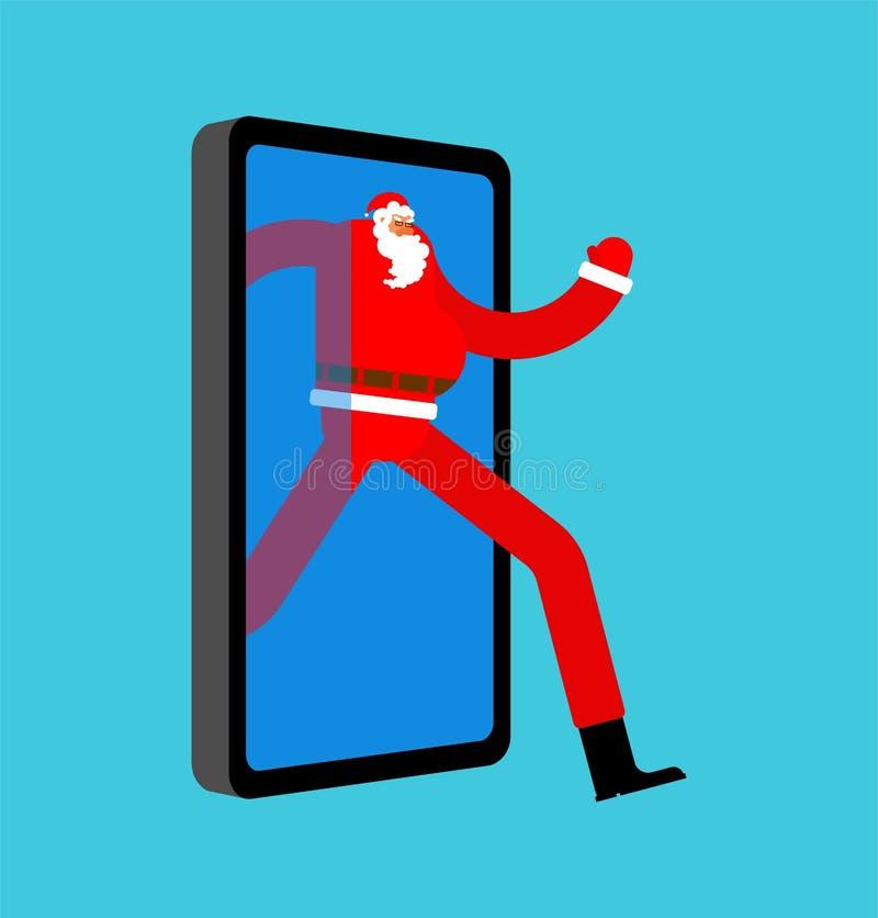 Santa Claus Congratulation online Gadget jul och nyår Gåvor och smartphone webbpresentationsorder presentationsruta, försäljnings stock illustrationer