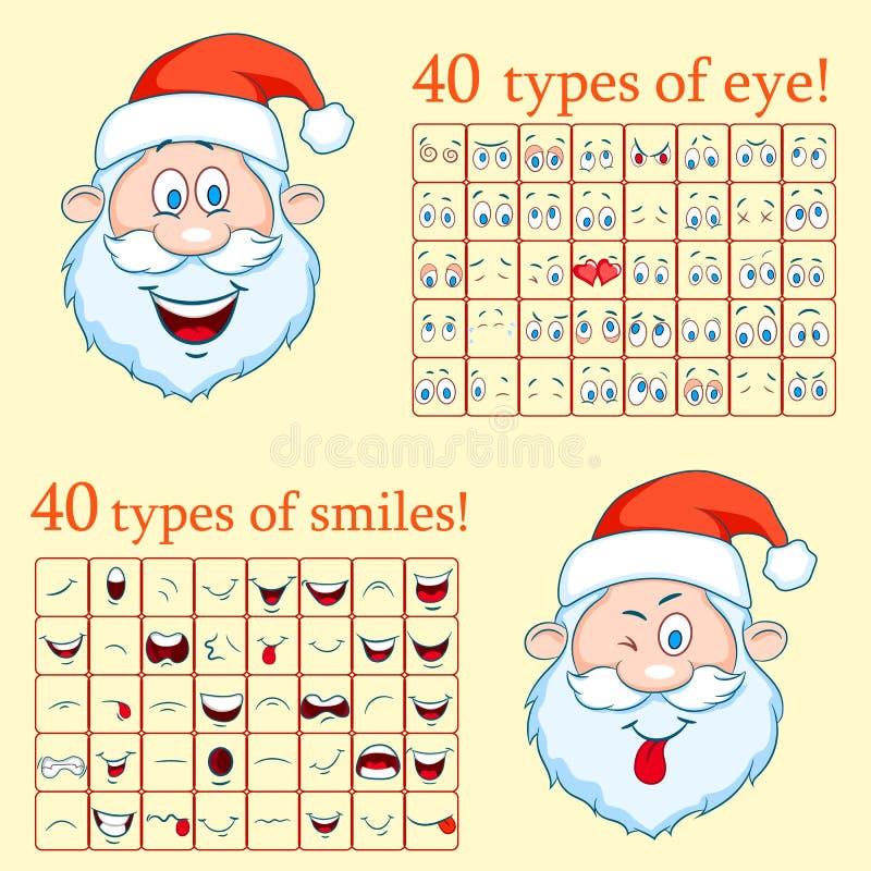 Santa Claus Constructor vänder mot Skapa en framsida av Santa Claus vektor illustrationer