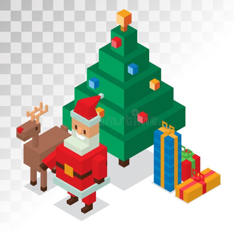 Santa Claus, contenitore di regalo, cervo, albero 3d sometric illustrazione di stock