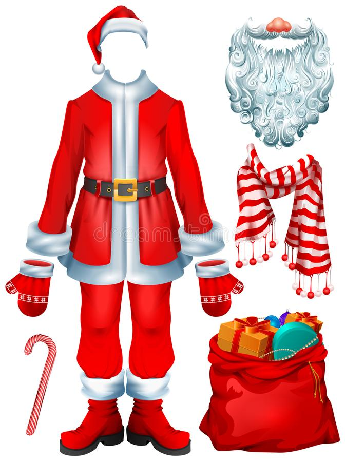 Santa Claus costume dress and Christmas accessories hat, mittens, beard, boots, bag with gifts, striped candy cane, scarf stock illustration