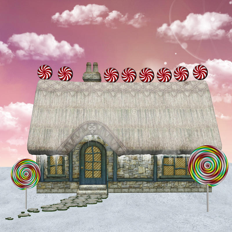 Santa Claus cottage. Beautiful winter illustratioin: a magic cottage with candies and lollipops vector illustration