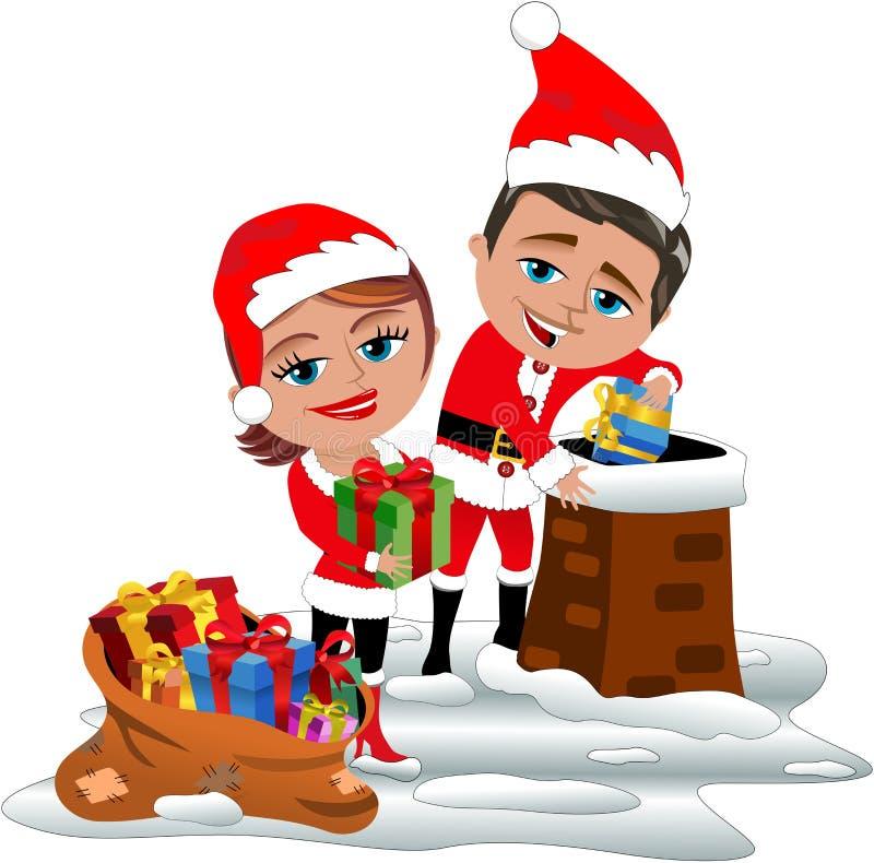 Santa Claus Couple Delivering Xmas Gifts sul tetto illustrazione vettoriale