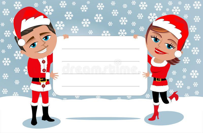 Santa Claus Couple Holding Blank Card ilustração stock