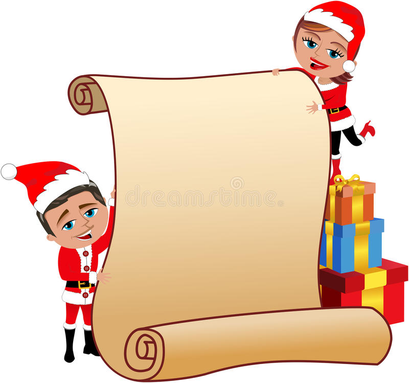 Santa Claus Couple Holding Blank Parchment stock illustratie