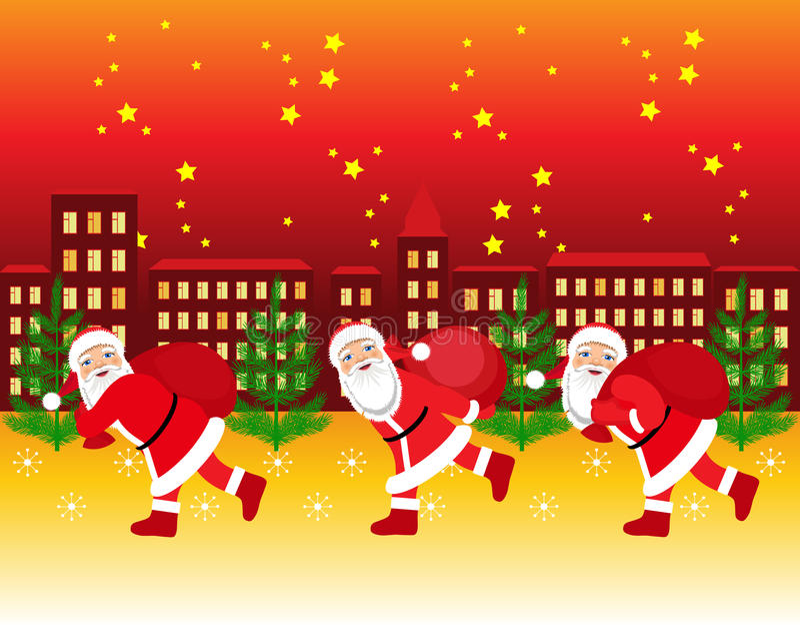 Santa Claus courant avec le sac des présents illustration libre de droits