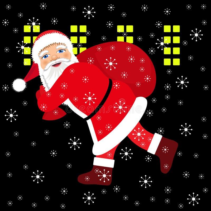 Santa Claus courant avec le sac des présents illustration de vecteur