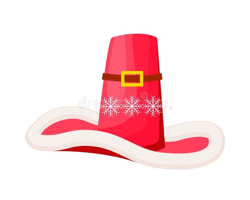 Santa Claus Cowboy Hat com os flocos de neve isolados ilustração do vetor