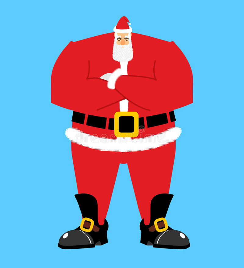 Santa Claus crossed hand. Serious Santa isolated. Christmas and vector illustration