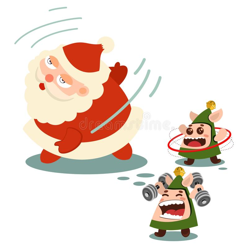 Santa Claus and cute elf doing fitness exercise vector illustration stock illustration