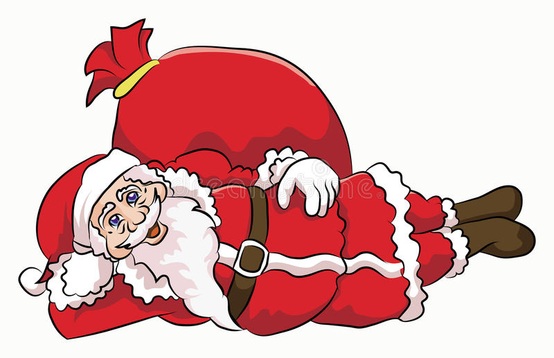 Santa claus cute sliping pose. Santa claus sliping pose with red sack containing some gift royalty free illustration