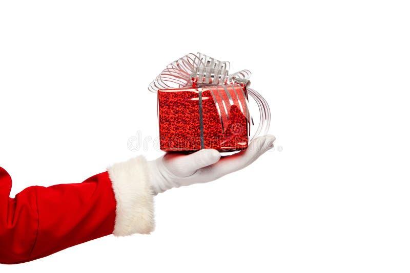 Santa Claus daje boże narodzenie teraźniejszości pudełku na a fotografia royalty free