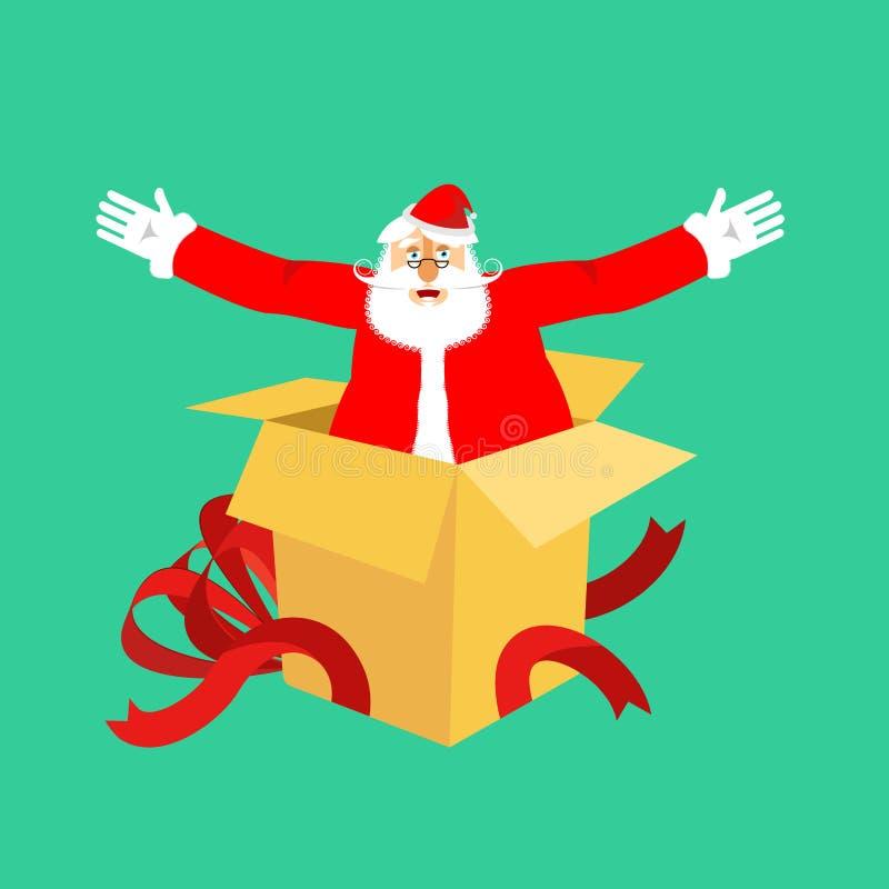 Santa Claus dal contenitore di regalo aperto Congratulazioni e sorpresa CH illustrazione vettoriale