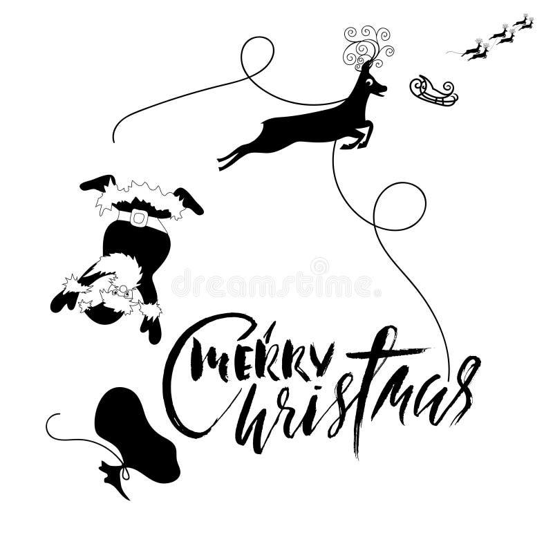 Santa Claus-daling van ar met uitrusting op het rendier Zwart-witte vectorillustratie Het van letters voorzien van Kerstmis royalty-vrije illustratie