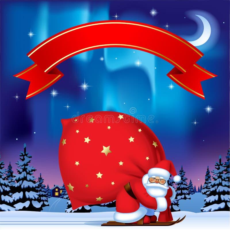 Santa Claus dallo sci che porta un grande sacco rosso e i agains rossi del nastro royalty illustrazione gratis