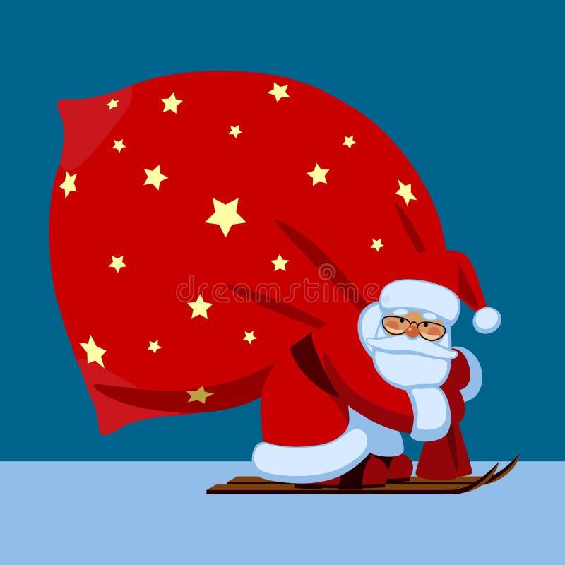 Santa Claus dallo sci che porta un grande sacco rosso sul backgroun blu royalty illustrazione gratis