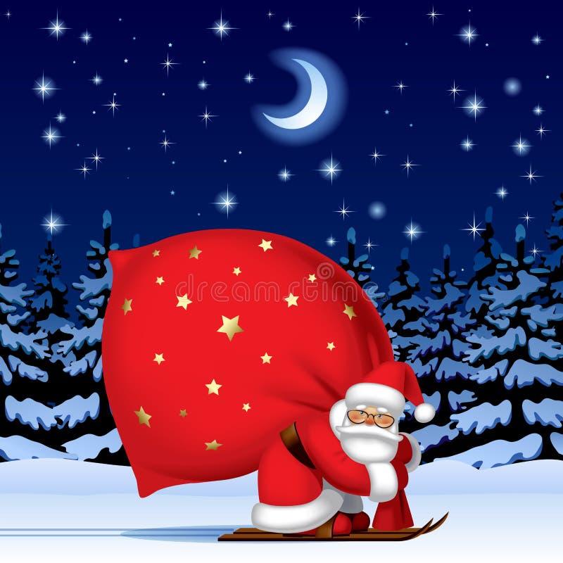 Santa Claus dallo sci con un grande sacco rosso illustrazione vettoriale