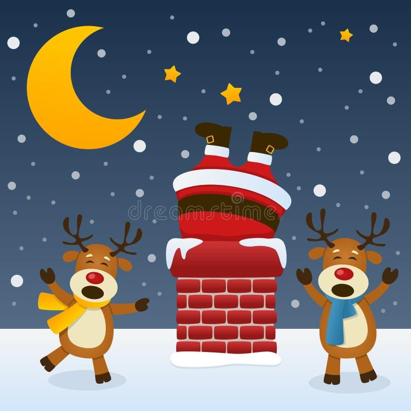 Santa Claus dans la cheminée avec le renne illustration stock