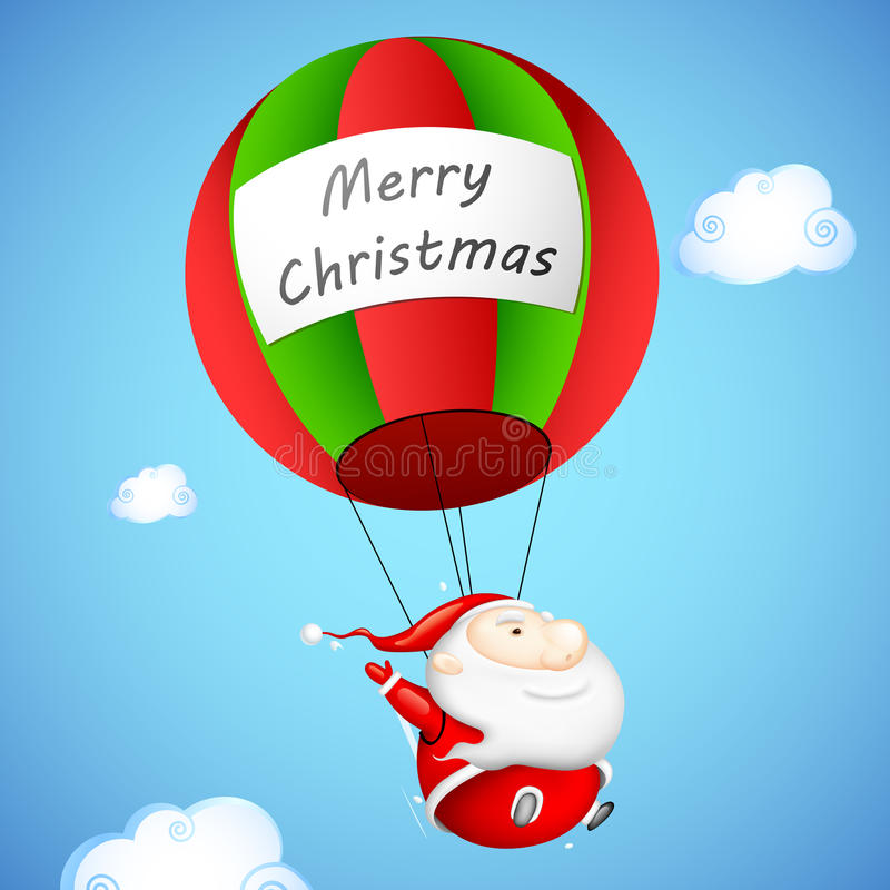 Santa Claus dans le parachute illustration stock