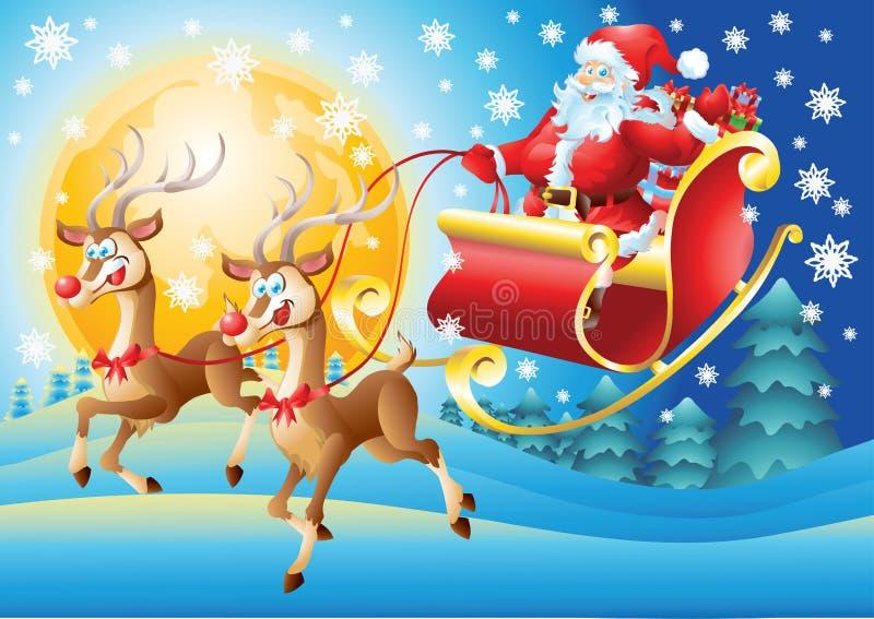 Santa Claus dans son vol de traîneau la nuit illustration libre de droits