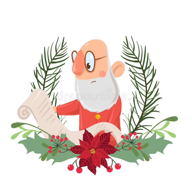 Santa Claus dans une guirlande de Noël lisant un rouleau de papier Illustration de vecteur, d'isolement sur le fond blanc illustration stock