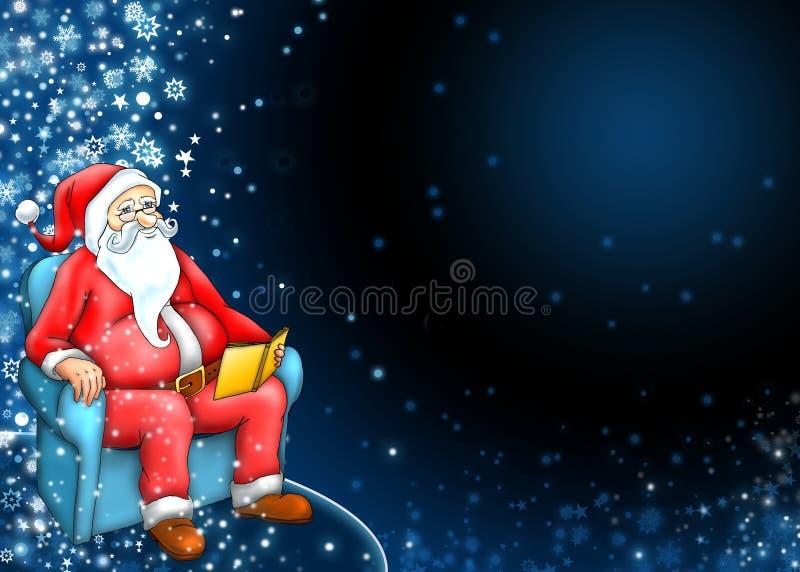 Santa Claus With Dark Blue Background Stock Photo