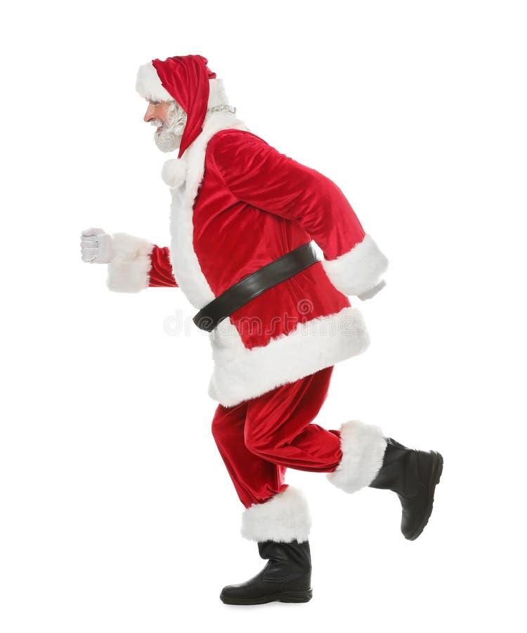 Santa Claus de corrida no fundo branco imagem de stock