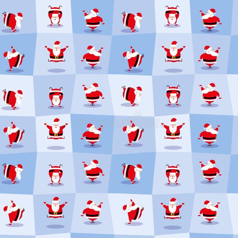 Santa Claus de danse drôle dans le style mignon de bande dessinée Fond sans couture Illustration de vecteur photo libre de droits