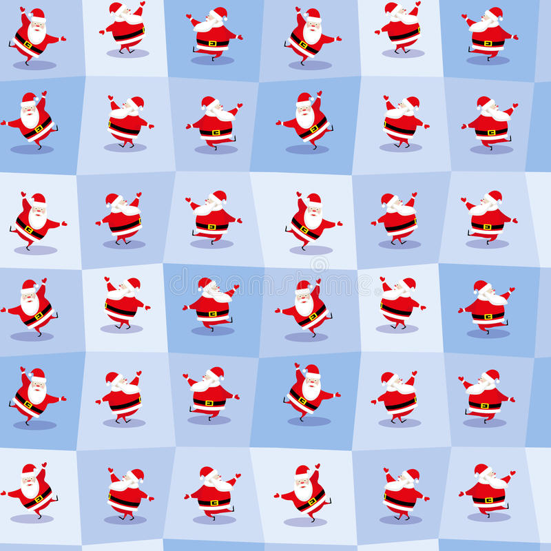 Santa Claus de danse drôle dans le style mignon de bande dessinée Fond sans couture Illustration de vecteur image stock