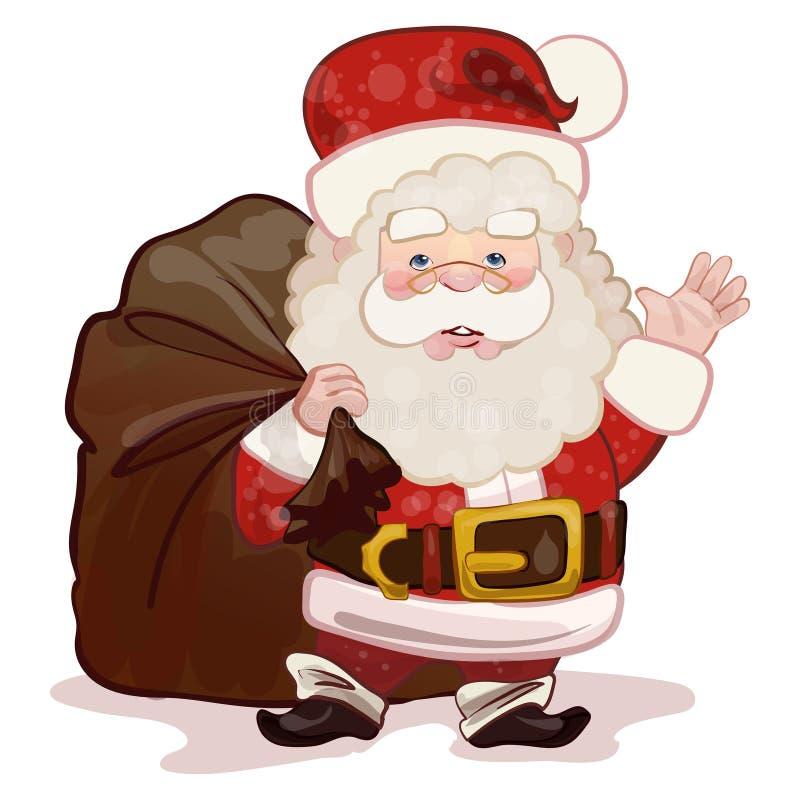Santa Claus-de golf zijn hand en brengt voorstelt stock illustratie