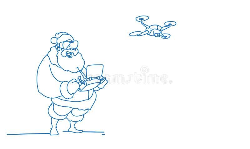 Santa Claus-de hommel van de de glazenhoofdtelefoon van de slijtage de virtuele werkelijkheid digitale het vliegen horizontale vo stock illustratie
