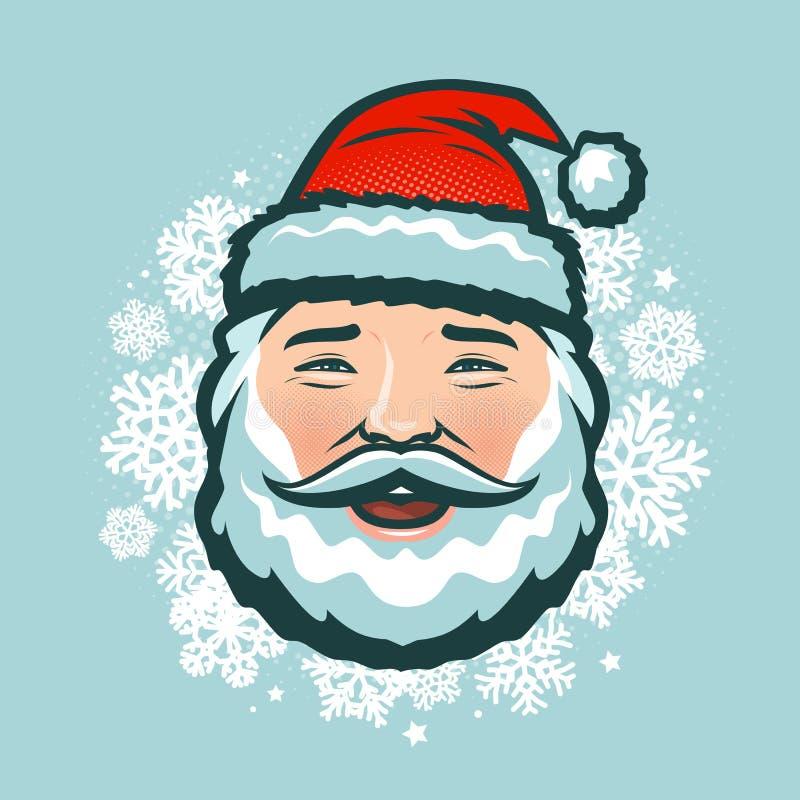Santa Claus de risa en sombrero Ilustración del vector de la Navidad stock de ilustración