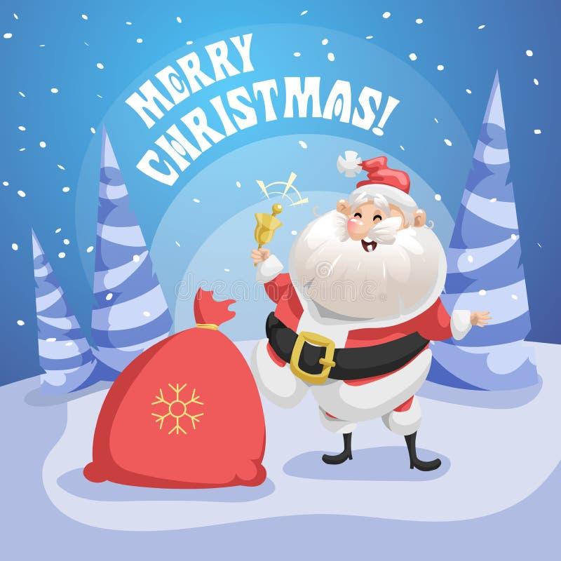Santa Claus de risa feliz en bosque con la campana del saco y del anillo del regalo Cartel de la Feliz Navidad stock de ilustración