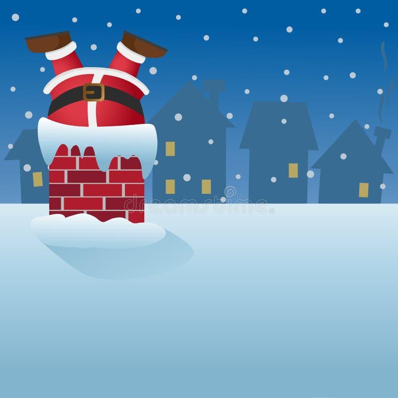 Santa Claus in de schoorsteen op het dak wordt geplakt dat stock illustratie