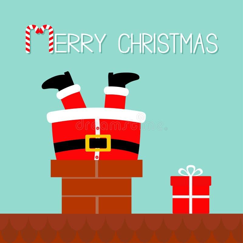 Santa Claus in de schoorsteen op het dak wordt geplakt dat De doos van de gift Rode hoed, kostuum, baard, riemgesp Vrolijke Kerst stock illustratie