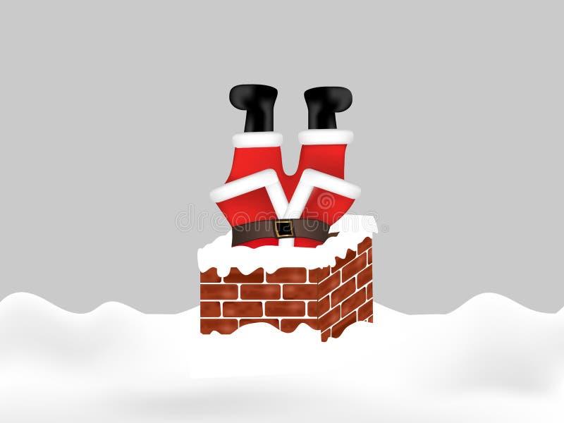 Santa Claus in de schoorsteenbovenkant die wordt geplakt - neer De achtergrond van Kerstmis Vector vector illustratie