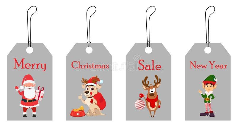Santa Claus de sorriso com caixa de presente, cão com um saco para presentes, cervos com a decoração da árvore de Natal e o duend ilustração royalty free